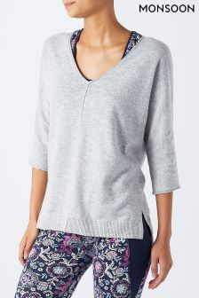 Monsoon Grey Marissa V-Neck Knit