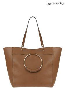 Accessorize Tan Metal Ring Tote Bag