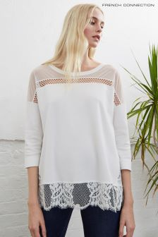 French Connection White Delos Core Three Quarter Sleeve Top