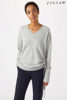 Jigsaw Grey Drawstring Side V Jumper