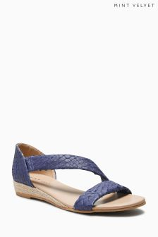 Mint Velvet Blue Ella Flat Asymetric Sandal
