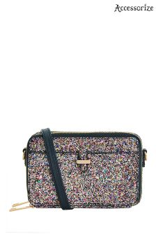Accessorize Metalic Glitter Thandie Purse Across Body Bag