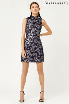 Warehouse Navy Floral Jacquard Shift Dress