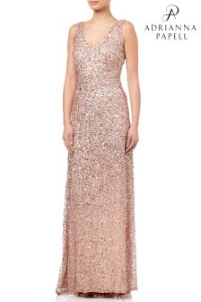 Adrianna Papell Gold V-Neck Crunchy Bead Gown