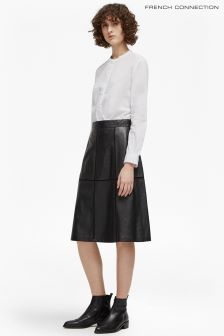 French Connection Black Gizo Leather Skirt