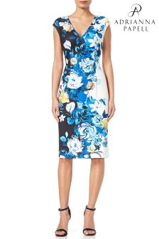 Adrianna Papell Blue Knit Crepe Sheath Dress