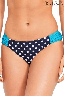 Figleaves Blue Tuscany Spot Ruched Brief