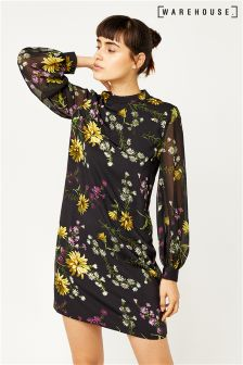 Warehouse Black Pattern Dutch Floral Shift Dress