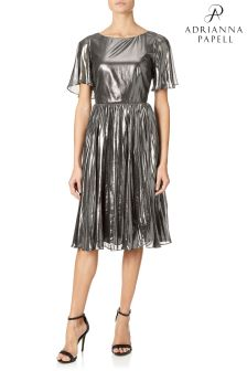 Adrianna Papell Grey Pleated Metallic Foil Dress