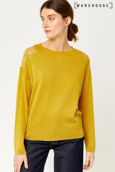 Warehouse Mustard Lace Insert 3/4 Sleeve Jumper
