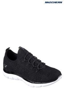 Skechers® Black Flex Appeal 2 Clear Cut Black Crochet Bungee