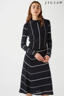 Jigsaw Blue Diagonal Cut Stripe Dress