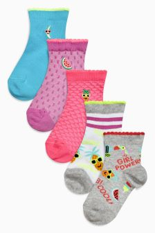 Ankle Socks Five Pack (Older Girls)