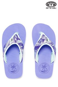 Animal Swish Upper Iris Blue Print Flip Flop