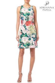 Adrianna Papell Khaki Floral Faille Fit And Flare Dress