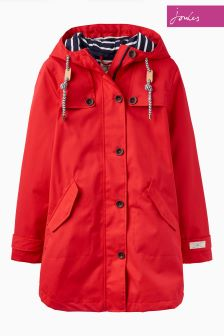 Joules Red Mid Length Coast Hooded Jacket