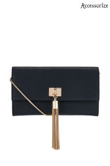Accessorize Black Tassel Across Body Bag