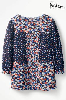 Boden Navy Poppy Meadow Hotchpotch Pintuck Top