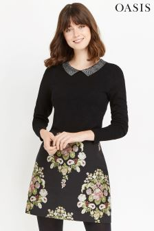 Oasis Black Metallic Thread Collar Knit