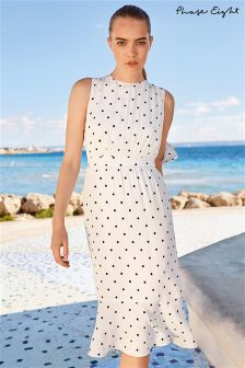 Phase Eight Ivory/Navy Alison Spot Print Dress