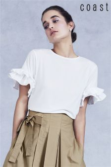 Coast White Ingrid Frill Sleeve T-Shirt