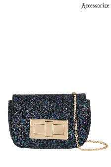 Accessorize Black Lola Glitter Mini Turnlock Across Body Bag