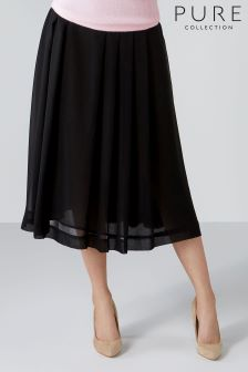 Pure Collection Black Soft Pleat Skirt
