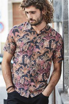 Short Sleeve Leaf Print Shirt