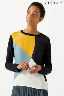 Jigsaw Black Silk Front Block Circle Jumper