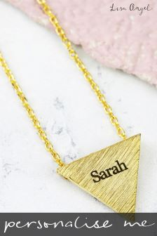 Personalised Gold Triangle Pendant Necklace By Lisa Angel