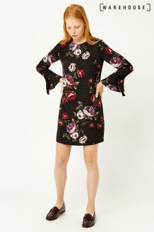 Warehouse Black Country Rose Tie Sleeve Shift Dress