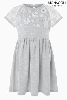 Monsoon Grey Lucie Lace Crochet Dress