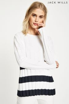 Jack Wills White Wheathill Pleated Stripe Jumper