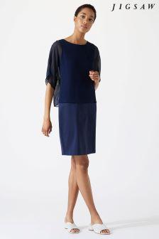 Jigsaw Blue Silk Overlay Dress
