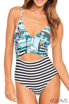 Figleaves White Puzzle Soft Cut Out Tummy Control Swimsuit