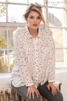 Live Unlimited White/Black Star Spot Oversized Blouse
