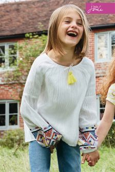 Joules Cream Jasmine Embroidered Woven Top