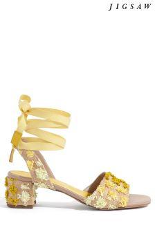 Jigsaw Yellow Raffia Pom Heeled Sandal