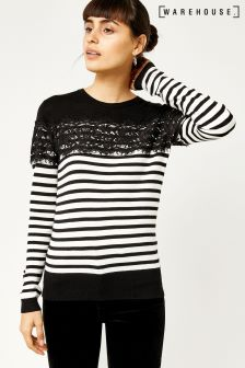 Warehouse Black/White Stripe Lace Jumper