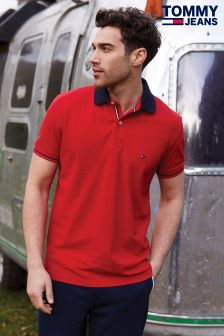 Tommy Jeans Red 1985 Regular Fit Polo Top