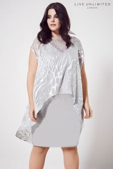 Live Unlimited Grey Animal Burnout Overlayer Dress