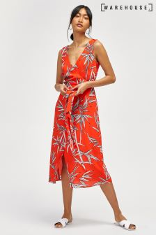 Warehouse Red Wrap Detail Bamboo Midi Dress