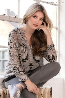 Live Unlimited Grey Paisley Blouse
