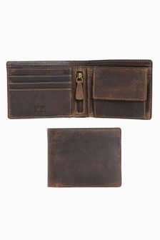 Leather Bifold Coin Pocket Wallet