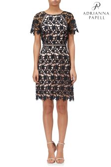 Adrianna Papell Black Lace Trimmed A-Line Dress