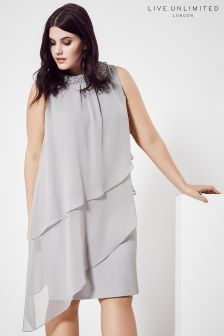 Live Unlimited Grey Trimmed Teired Dress