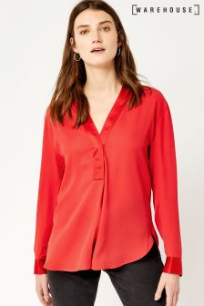 Warehouse Red Satin Mix Long Sleeve Blouse