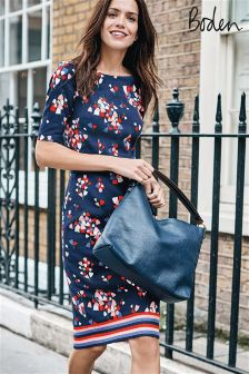 Boden Navy Tulip Fleur Fitted Dress