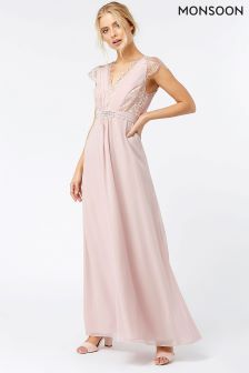 Monsoon Pink Brigitte Lace Maxi Dress