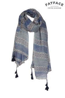 Fat Face Blue Emma Patchwork Scarf